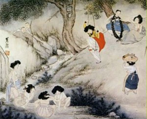 端午(단오)に行われる韓国の風習「菖蒲で洗髪する女性、韓国相撲をする男性」
